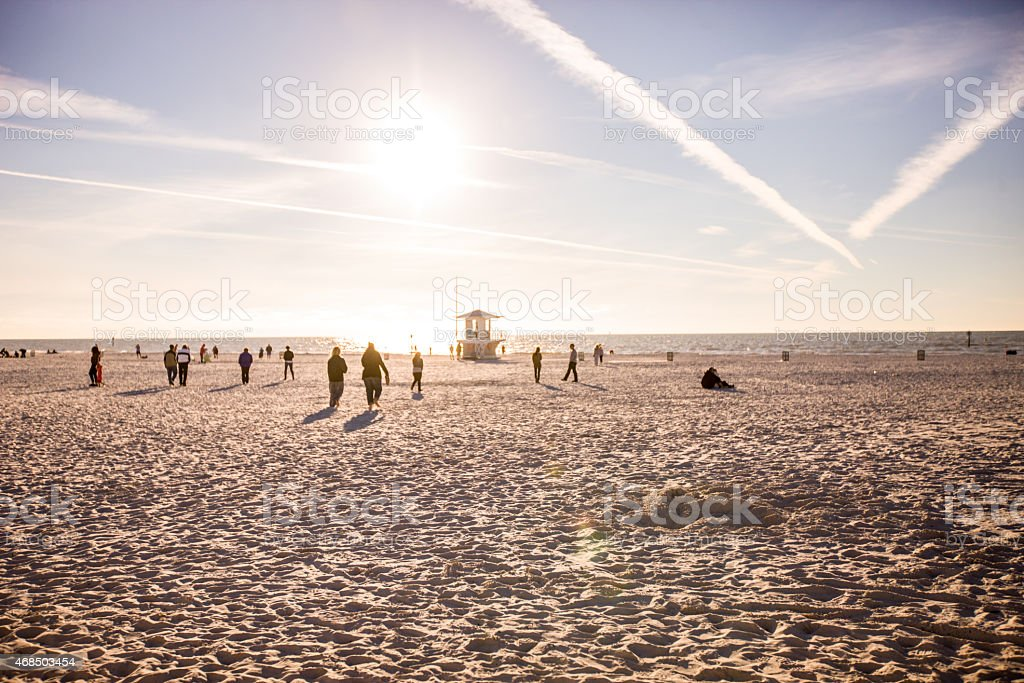 Sunset on Clearwater Beach, Florida stock photo