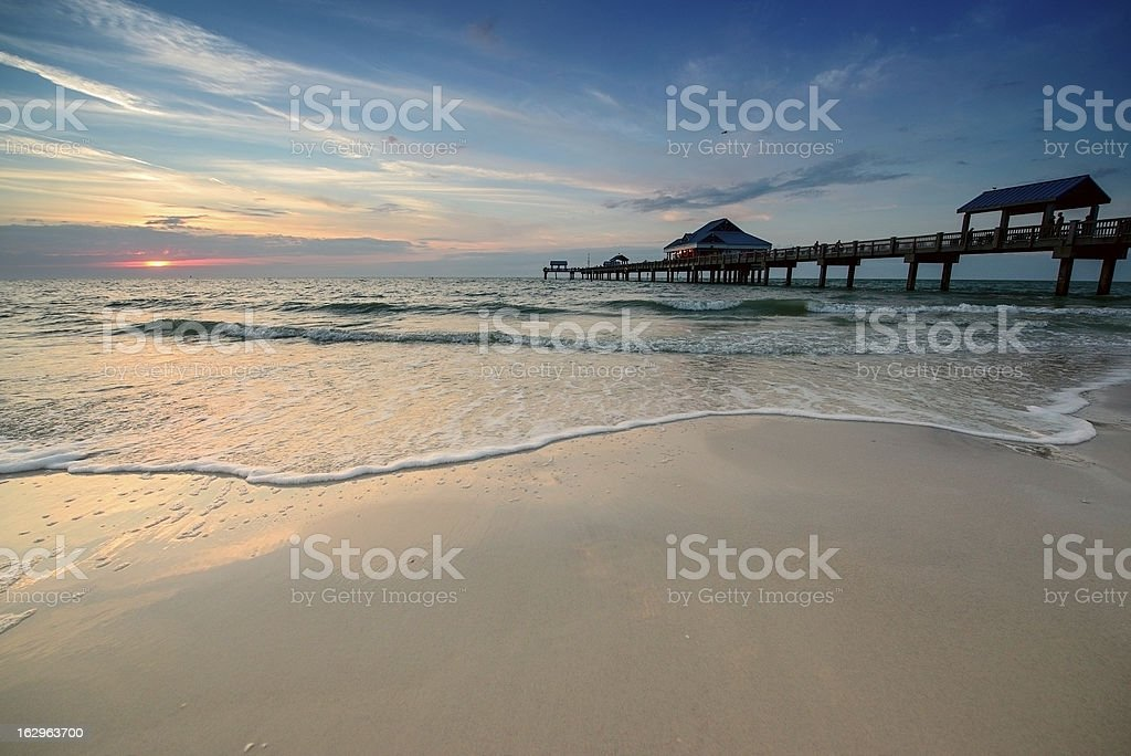 Sunset on Clearwater Beach stock photo