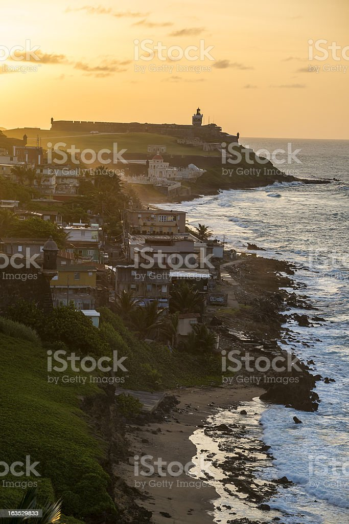 Sunset on coast of San Juan, Puerto Rico stock photo