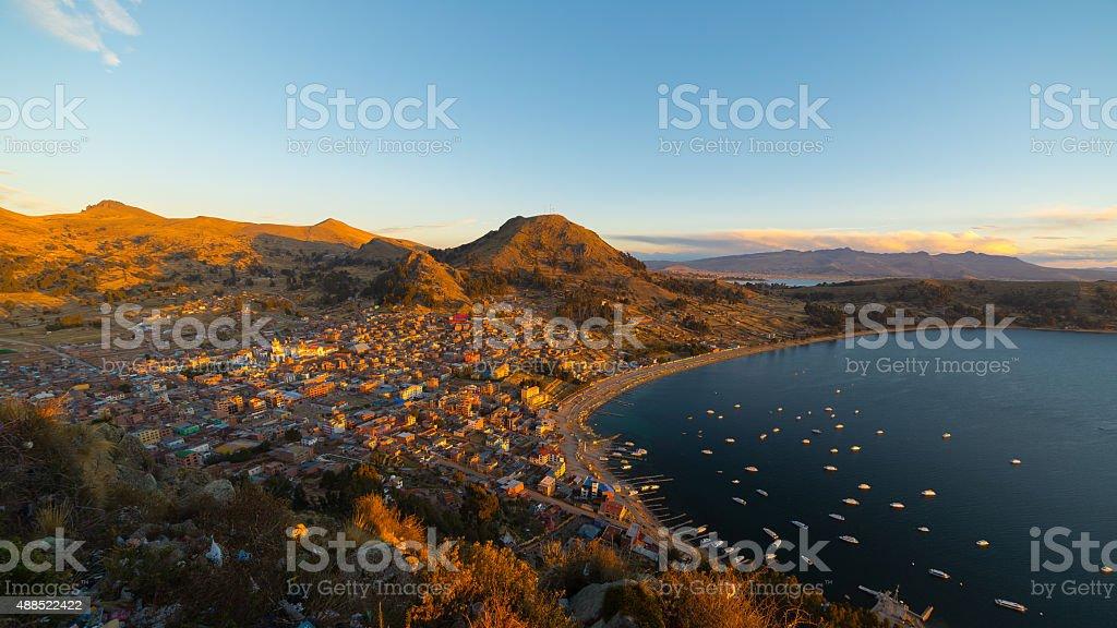 Sunset on Copacabana Bay, Titicaca Lake, Bolivia stock photo