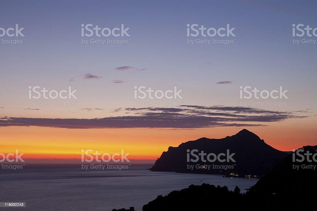 Sunset on Corfu stock photo