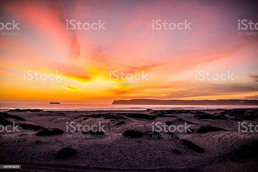 Sunset on Coronado Beach, California, USA stock photo