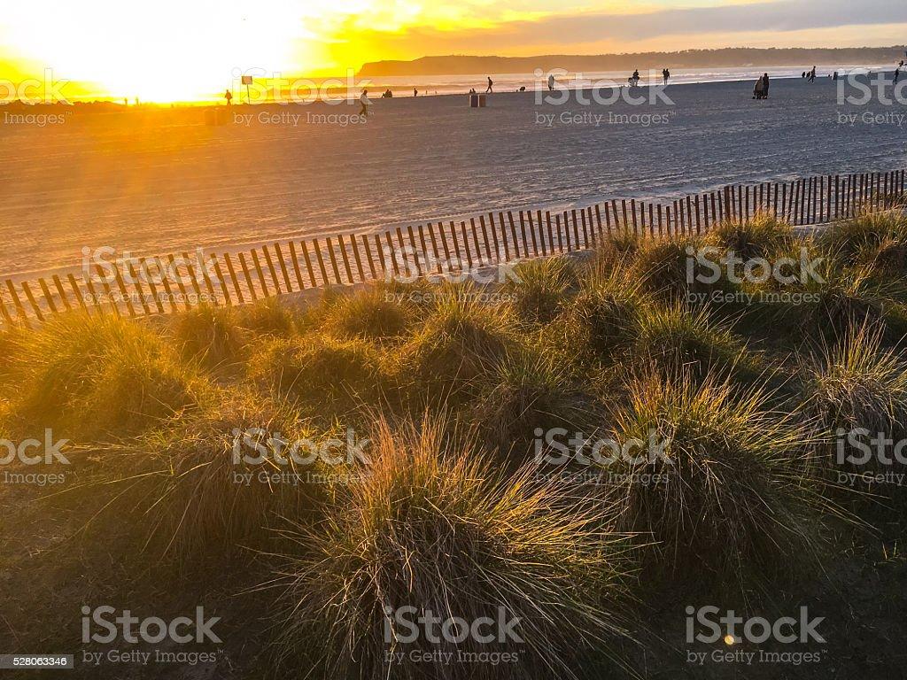 Sunset on Coronado Island Beach, California, USA stock photo