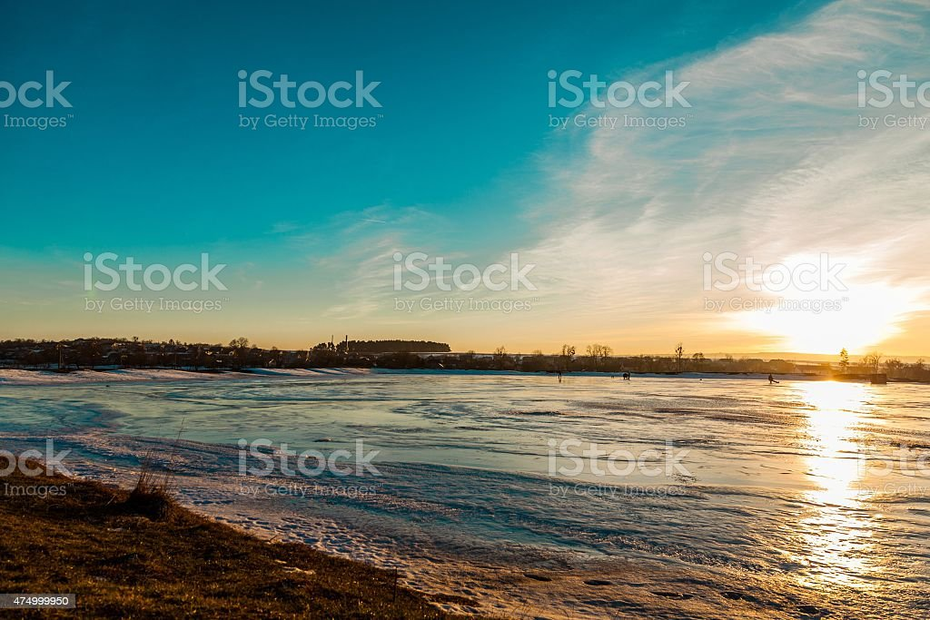 Sunset on cross-country ski track stock photo
