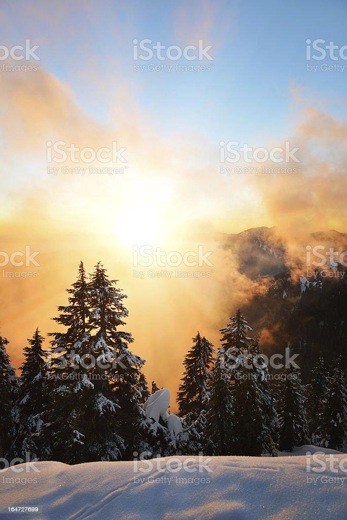 Sunset on Dam Mountain royalty-free stock photo
