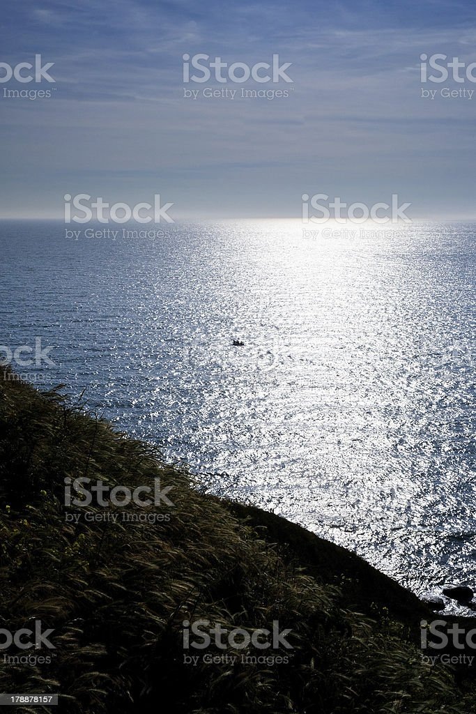 sunset on English Channel, Normandy royalty-free stock photo