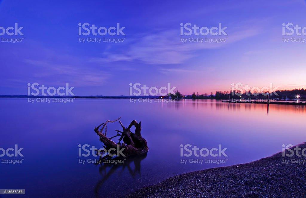 Sunset on Fern Ridge lake stock photo