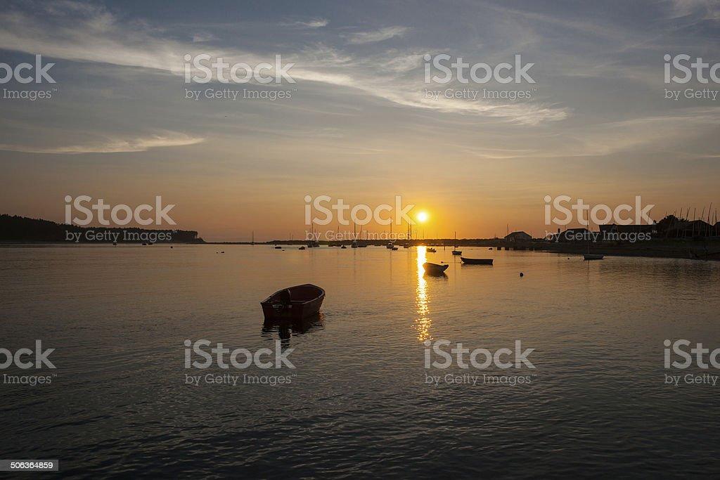 Sunset on Findhorn Bay, Morayshire stock photo