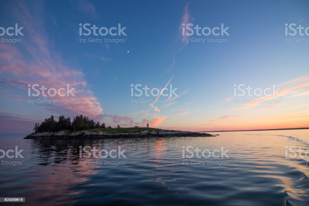 Sunset on Franklin Island Lighthouse, East view stock photo