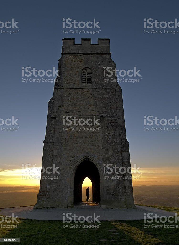 Sunset on Glastonbury Tor royalty-free stock photo