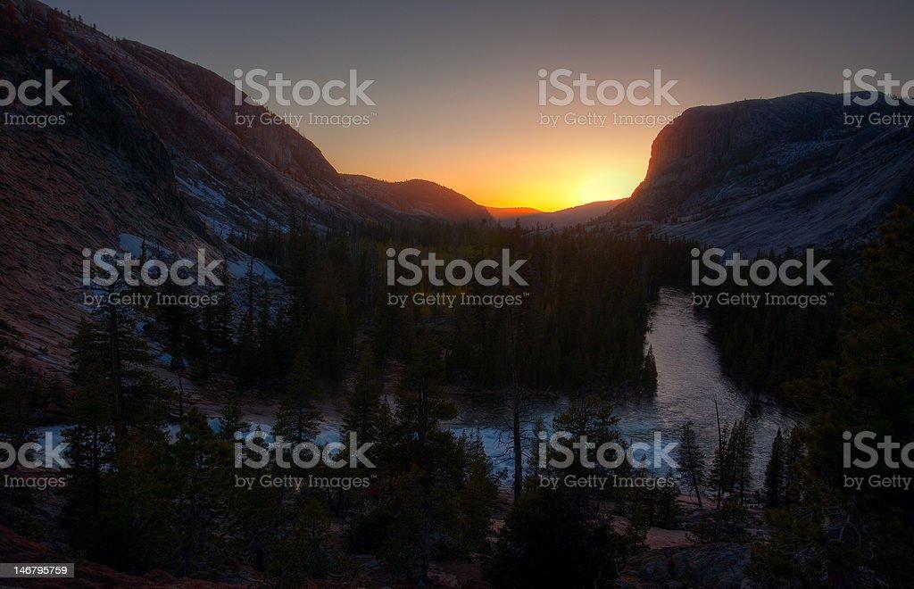 Sunset on Glen Aulin stock photo