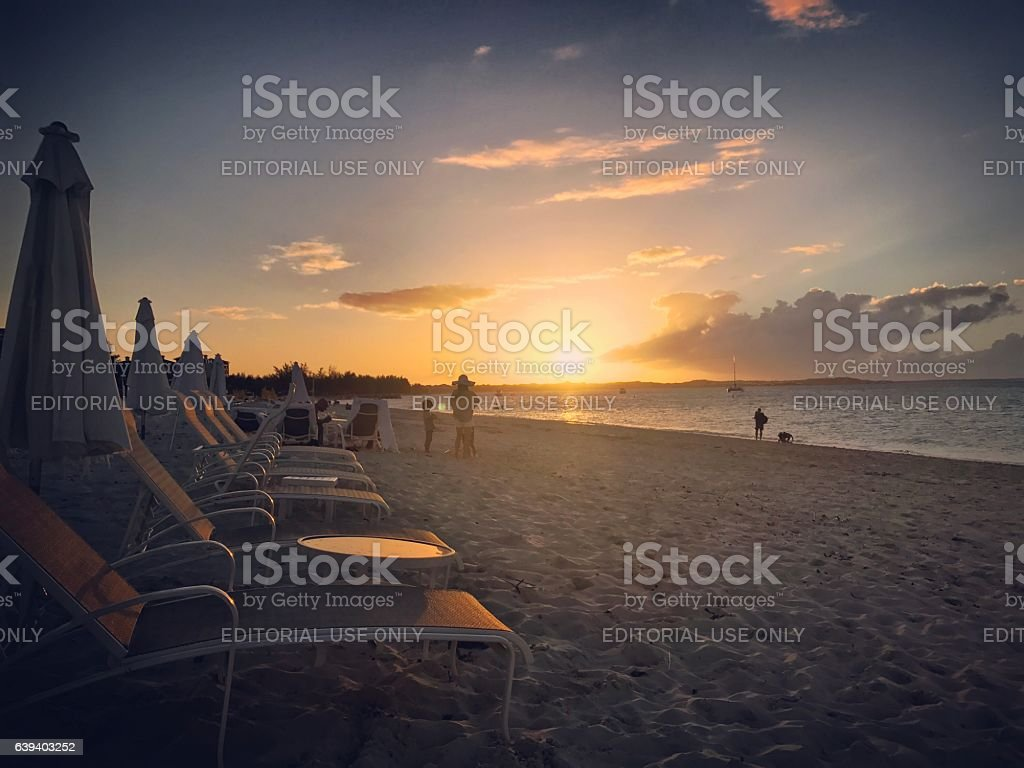 Sunset on Grace Bay Beach, Turks and Caicos Islands stock photo