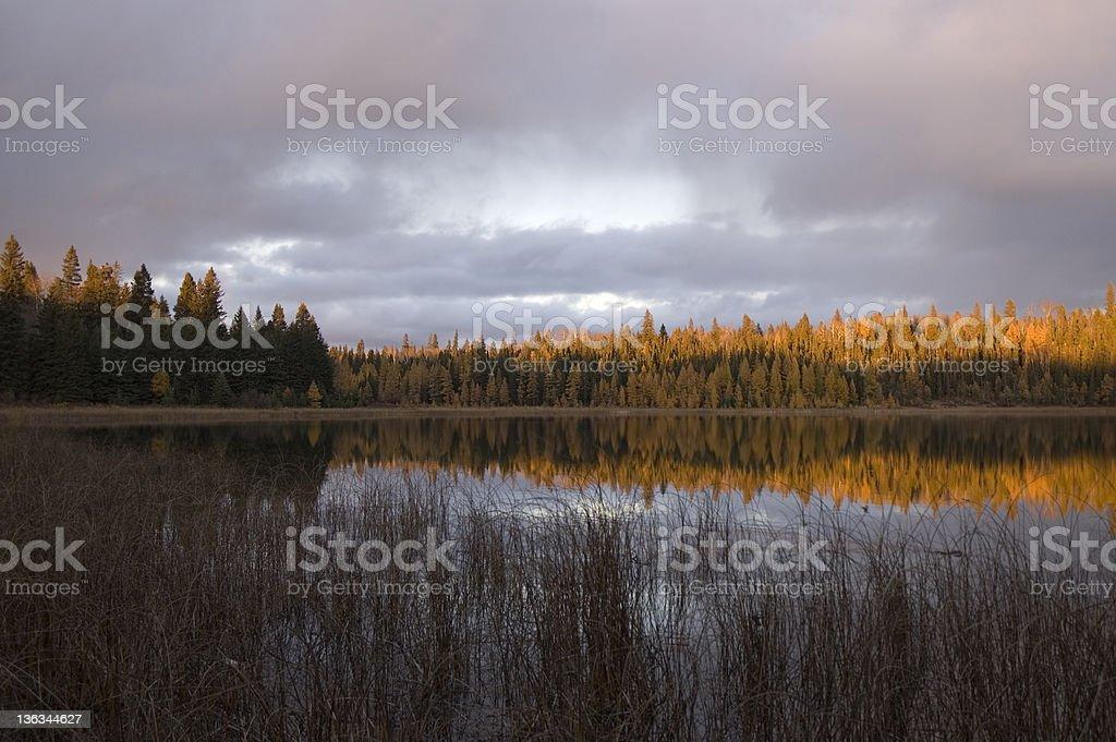Sunset on Grayling Lake, Riding Mountain National Park, Manitoba royalty-free stock photo