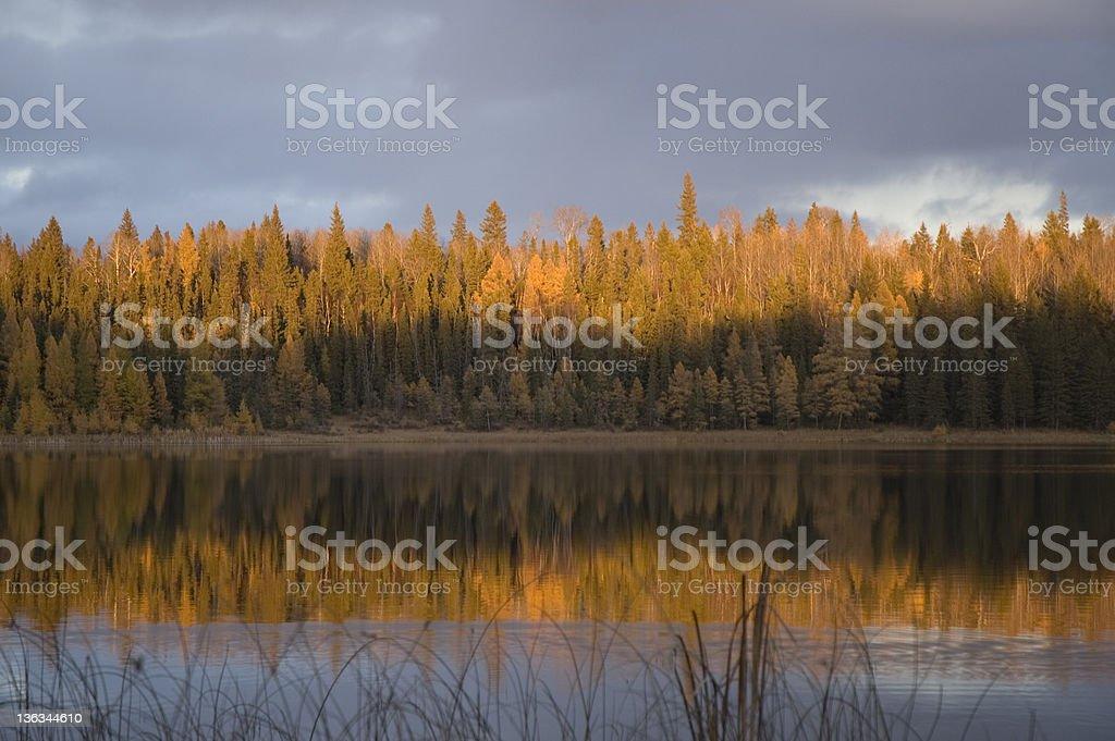 Sunset on Grayling Lake, Riding Mountain National Park royalty-free stock photo