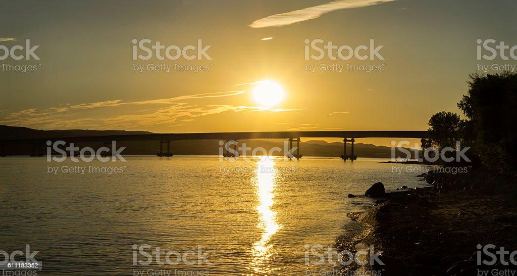 Sunset on Highway 44 stock photo