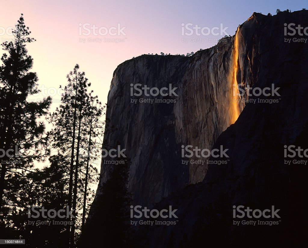 Sunset on Horsetail Falls, Yosemite royalty-free stock photo
