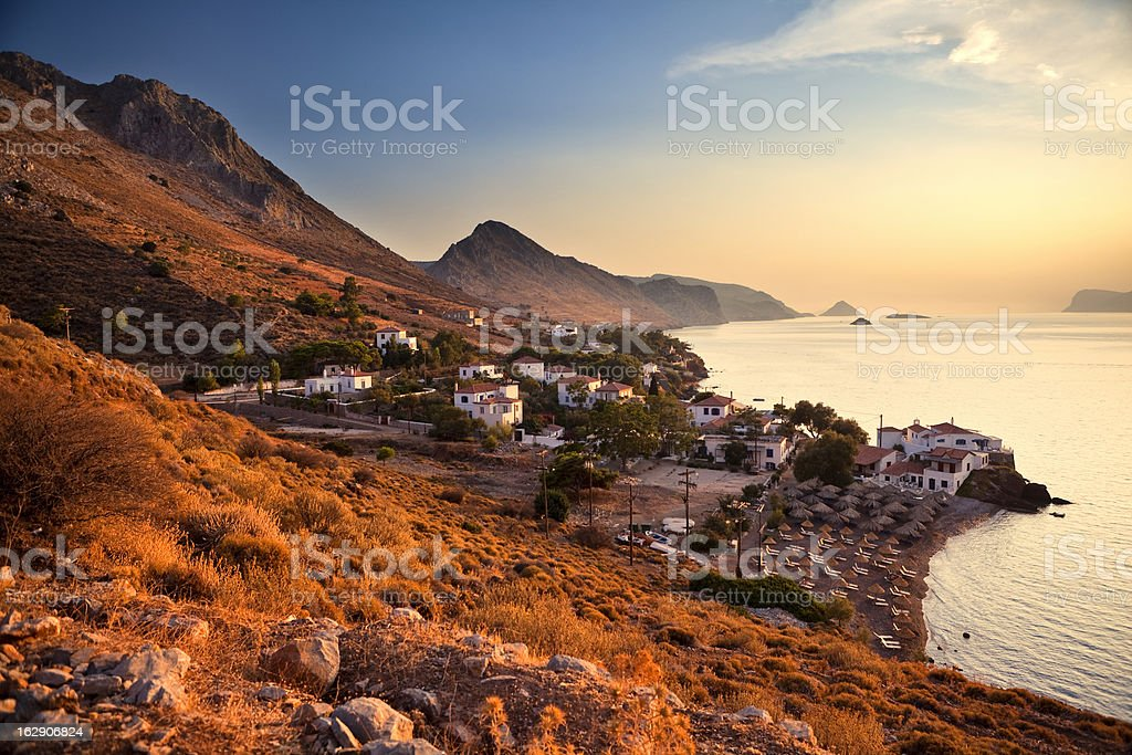 Sunset on Hydra Island stock photo