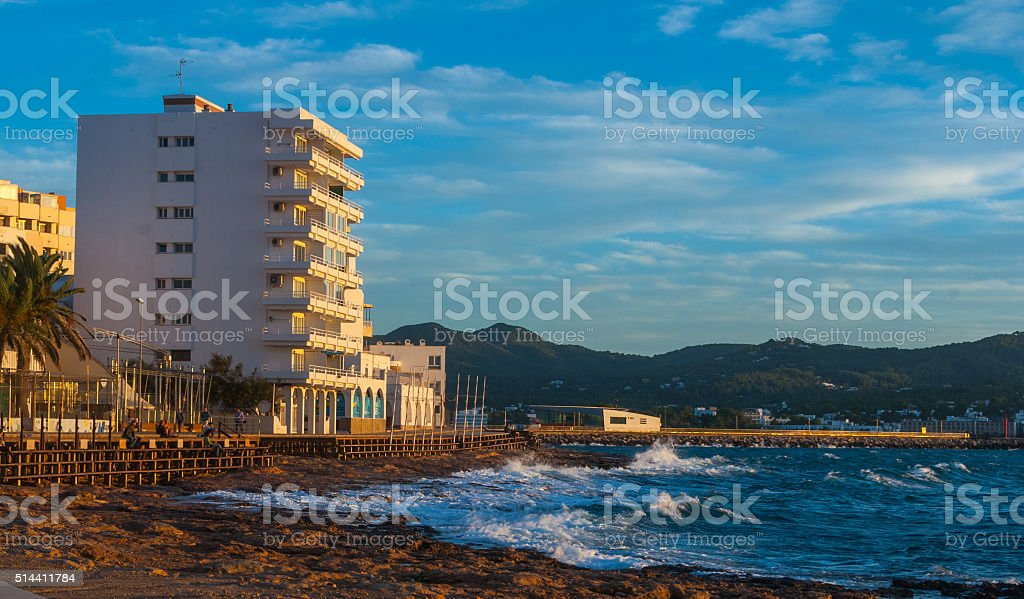Sunset on Ibiza beaches.  Golden glow as sun goes down. stock photo