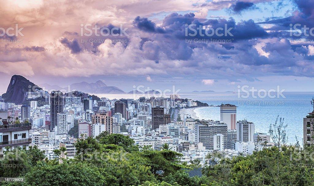 Sunset on Ipanema Beach in Rio de Janeiro royalty-free stock photo