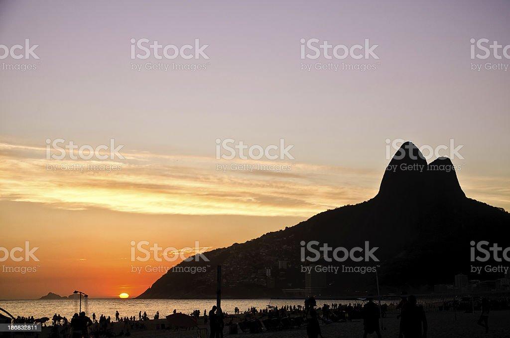 Sunset on Ipanema Beach stock photo