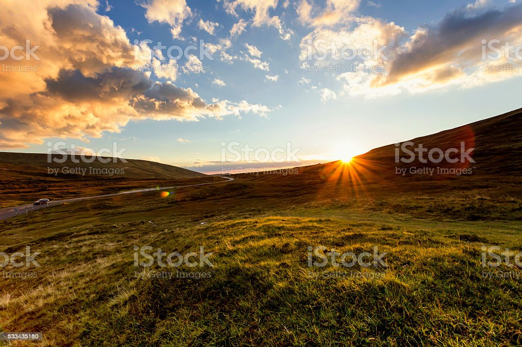 Sunset on Isle of Skye Scotland stock photo