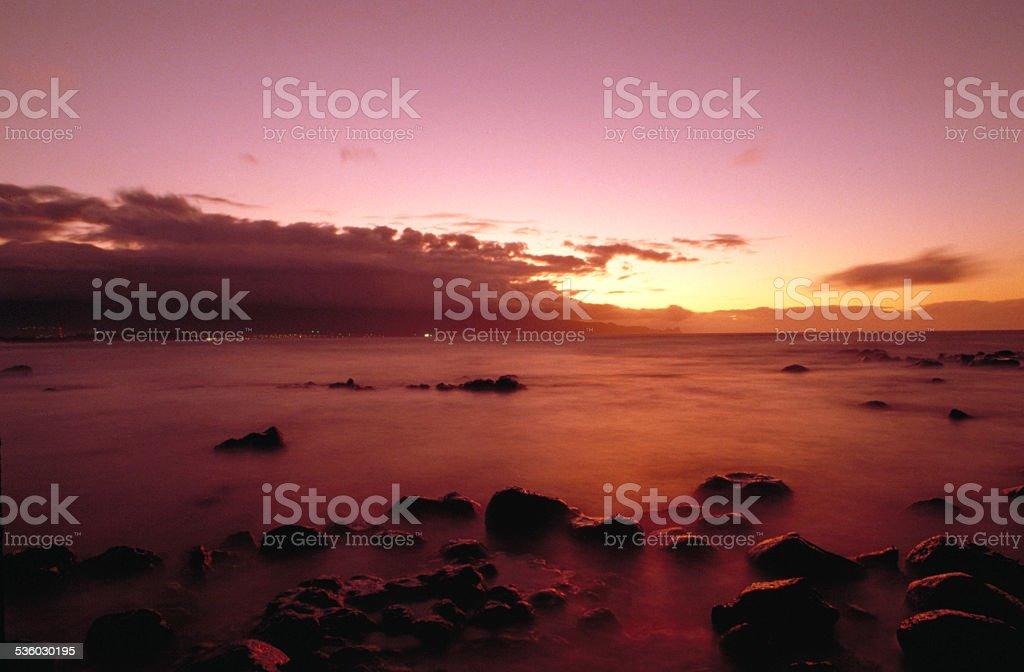 sunset on Kahulhi bay stock photo