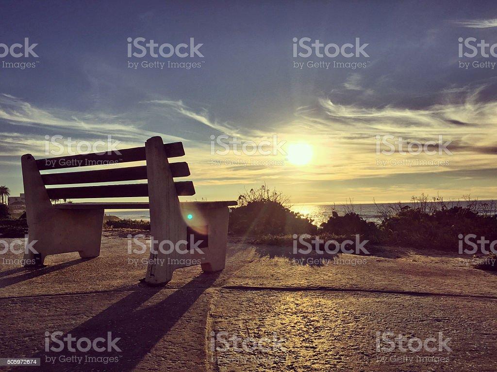Sunset on La Jolla Beach, California, USA stock photo