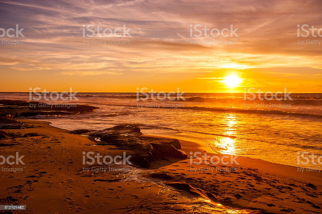 Sunset on La Jolla Beach, California, USA stock photo