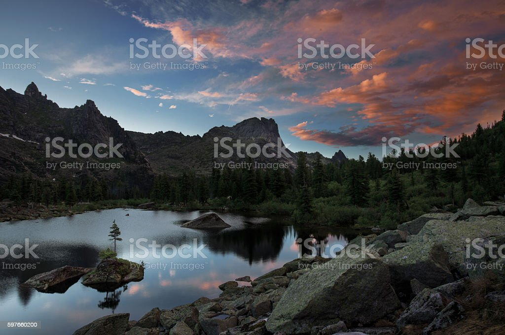 Sunset on Lake Artists. Natural Park Ergaki stock photo
