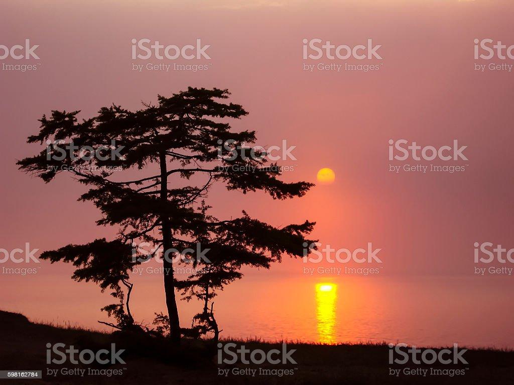 Sunset on Lake Baikal. stock photo