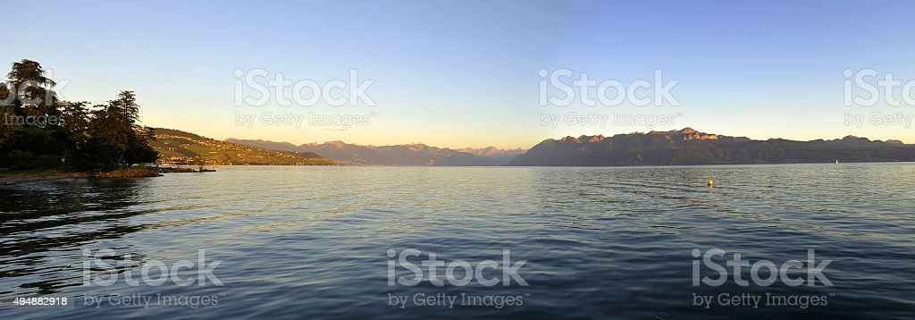 Sunset on Lake Geneva and Alps from Ouchy stock photo