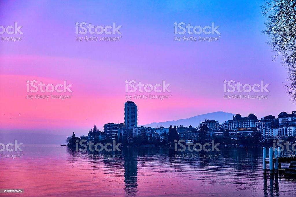 Sunset on Lake Geneva in Montreux, Switzerland stock photo