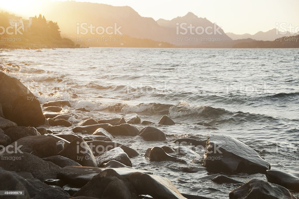 Sunset on Lake Nahuel Huapi stock photo