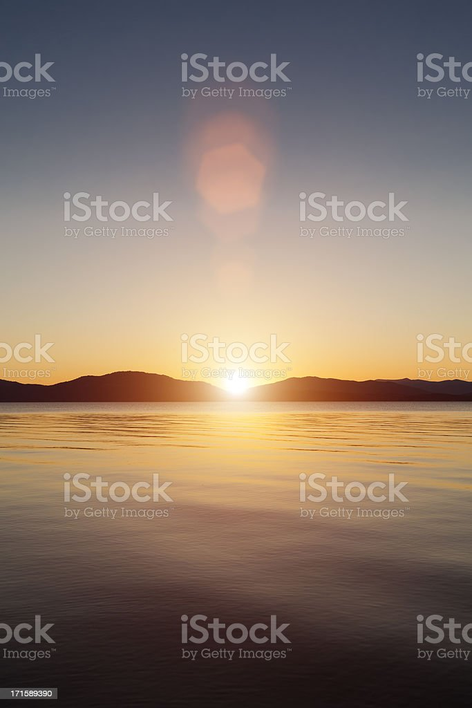 Sunset on lake Pend Oreille, Idaho stock photo