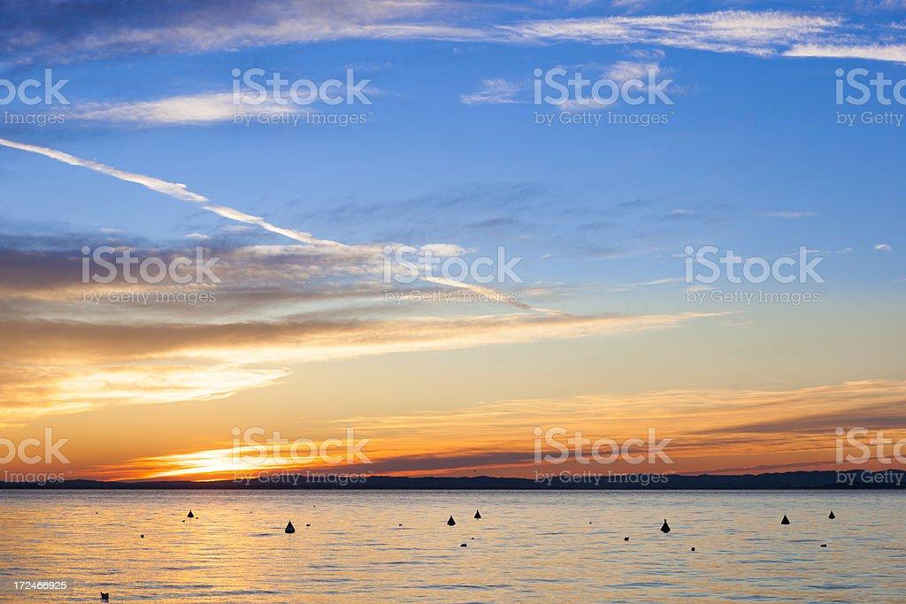 Sunset on lake royalty-free stock photo