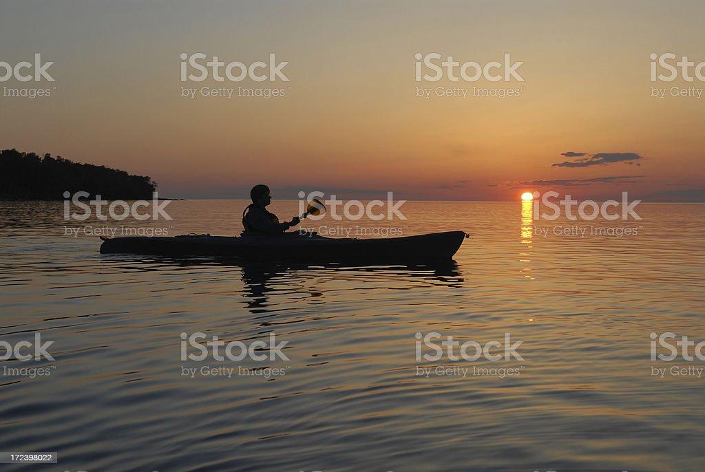 Sunset on Lake Superior stock photo