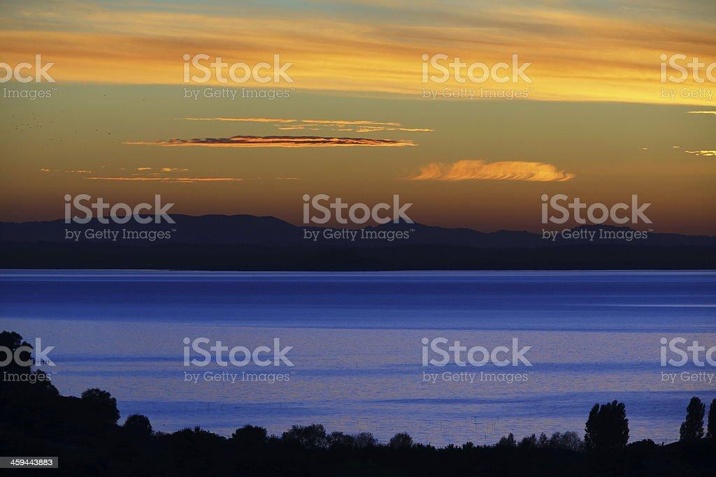 Sunset on Lake Trasimeno royalty-free stock photo