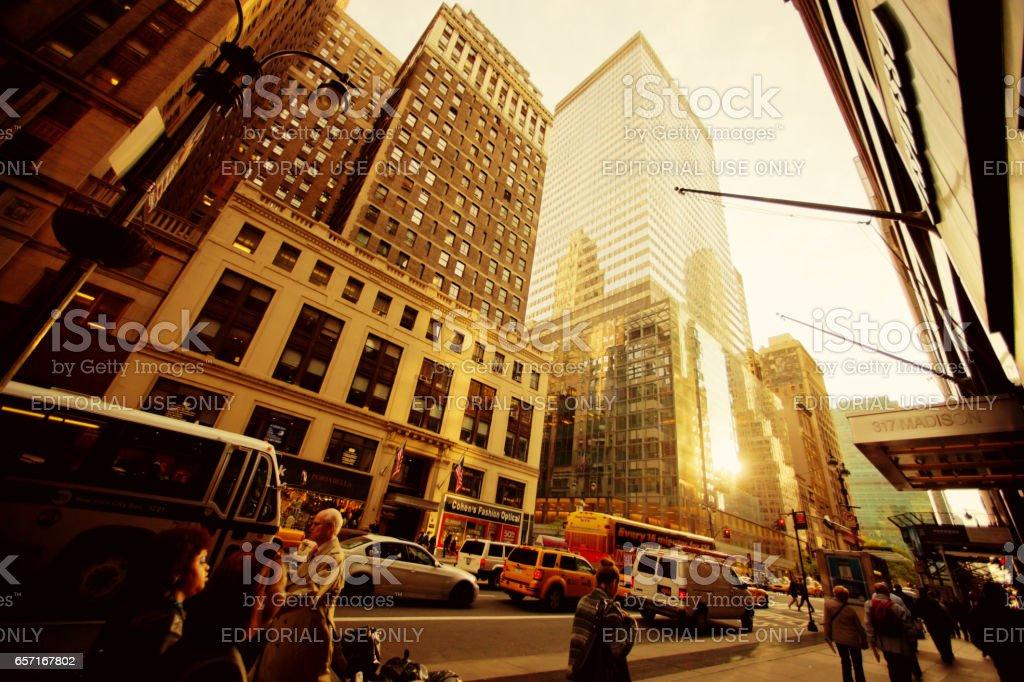 Sunset on Madison Avenue, New York stock photo