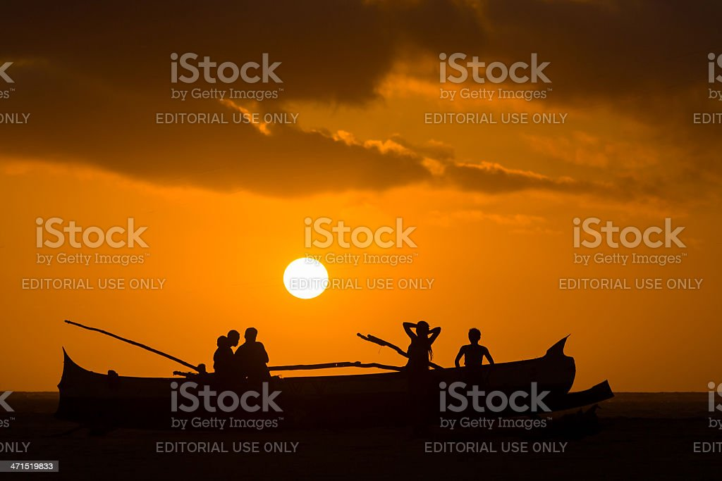 Sunset on malagasy dugout stock photo