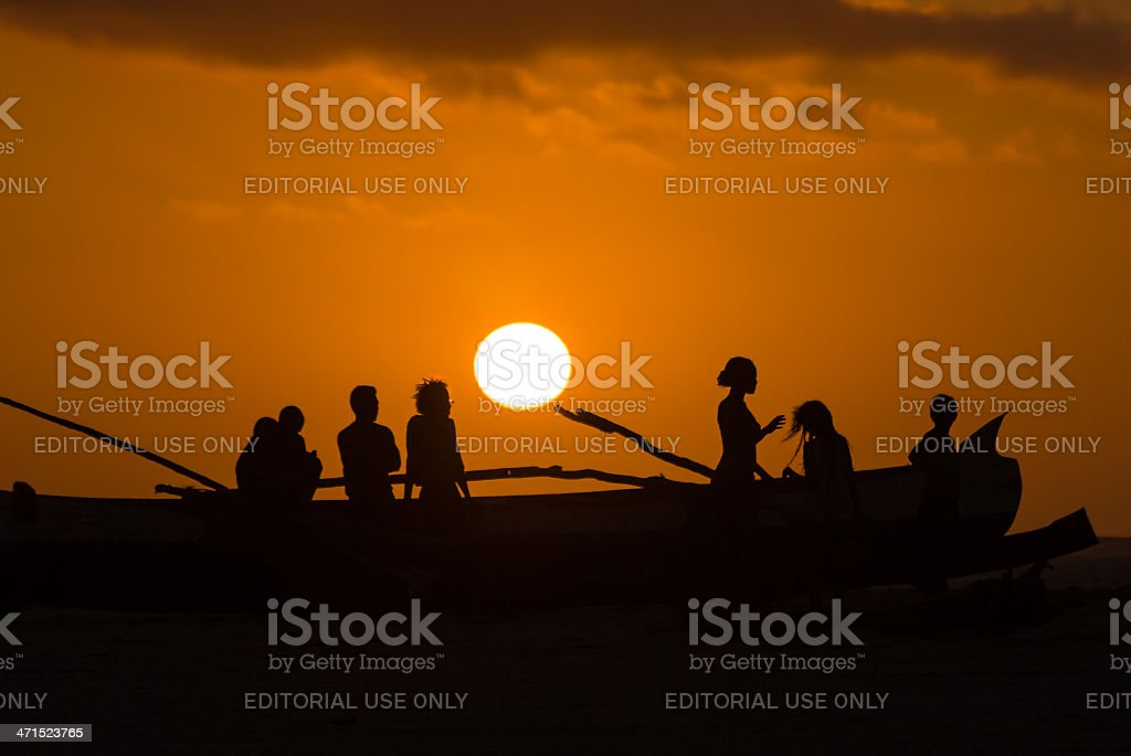 Sunset on malagasy dugout royalty-free stock photo