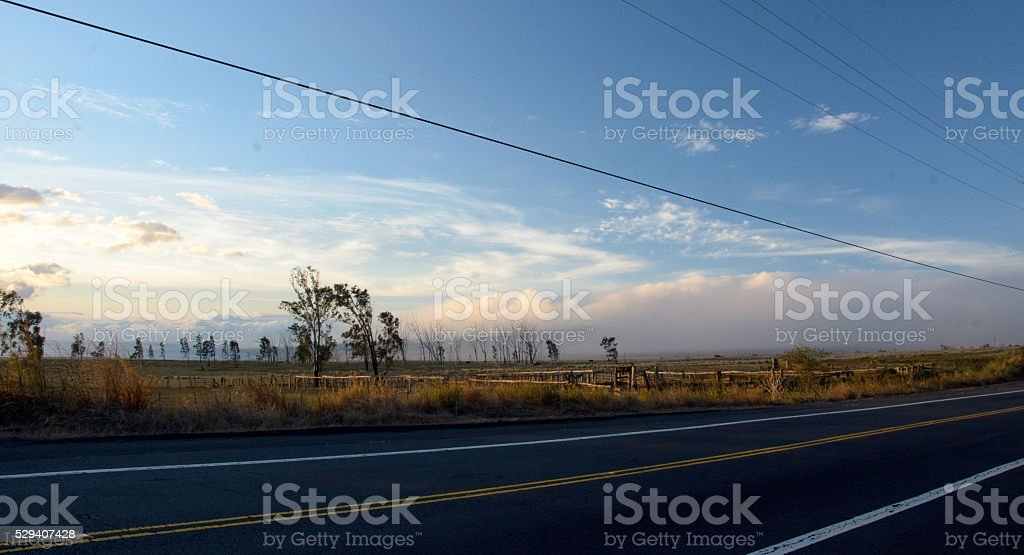 Sunset on Mamalahoa highway near intersection with route 200 stock photo