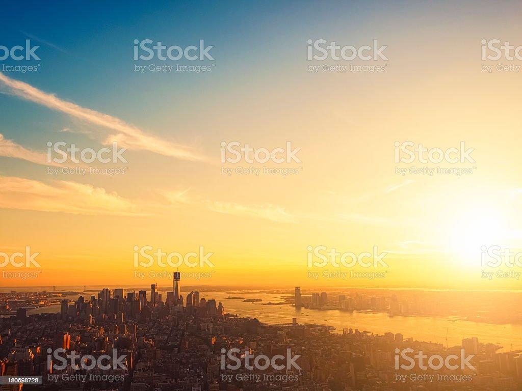 Sunset on Manhattan, New York City stock photo