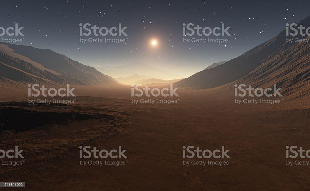Sunset on Mars. stock photo