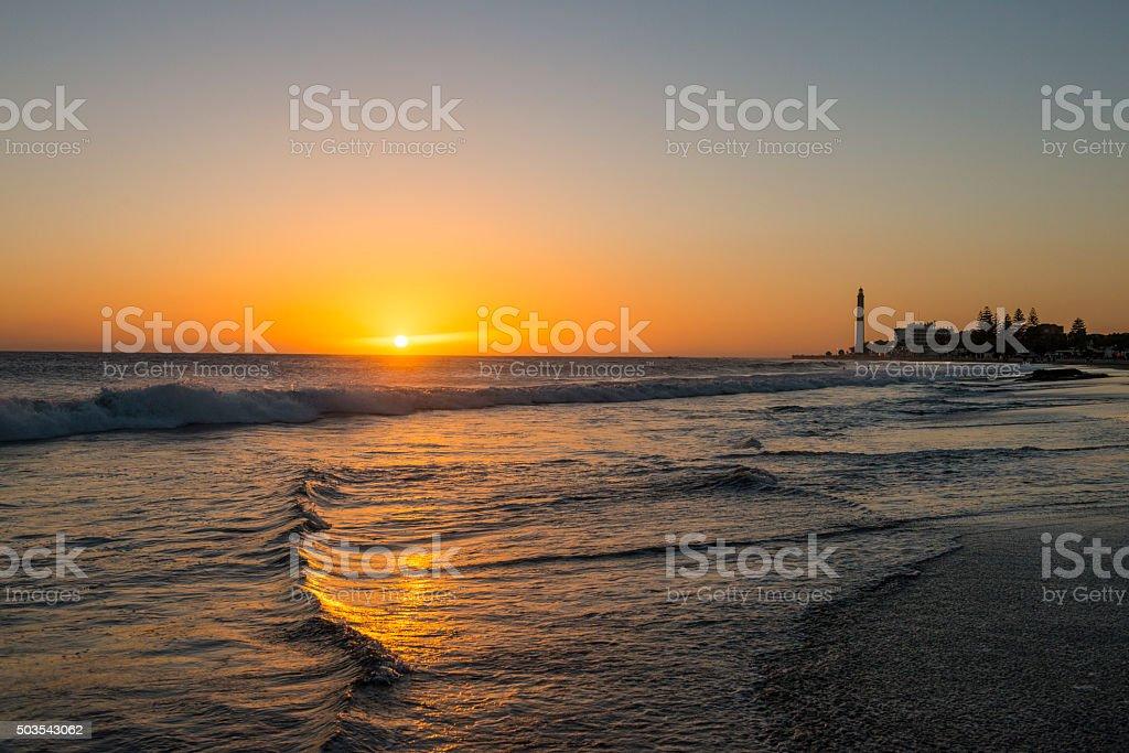 Sunset on Maspalomas Beach in Winter stock photo