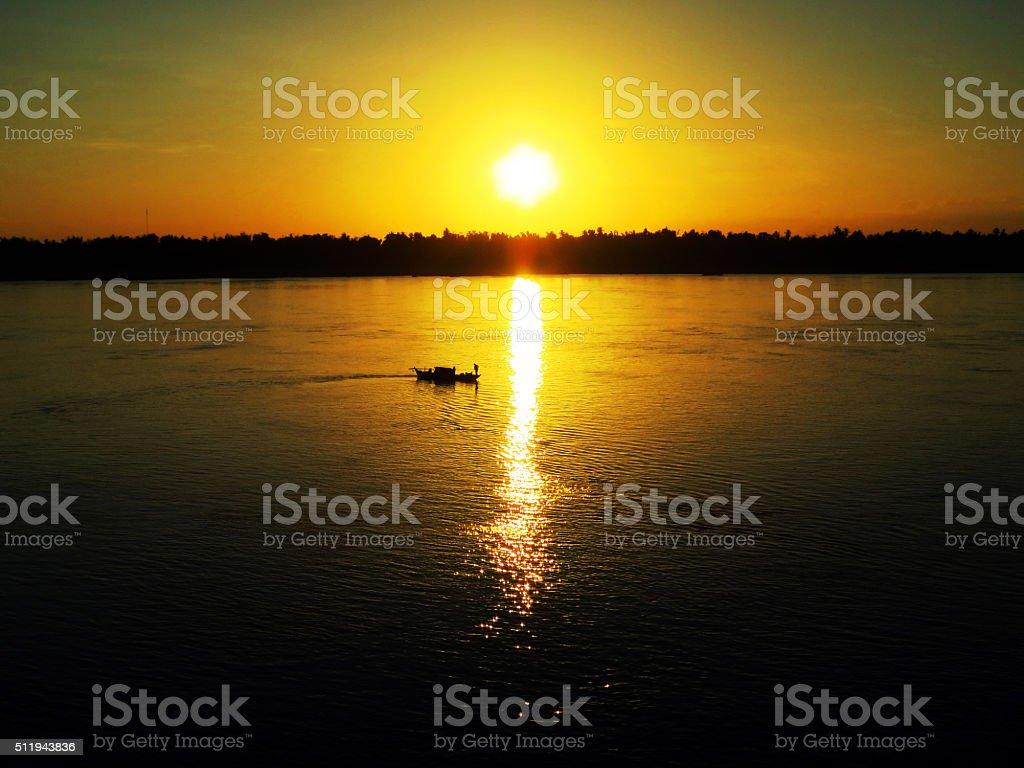 Sunset on Mekong, Kratie, Cambodia stock photo
