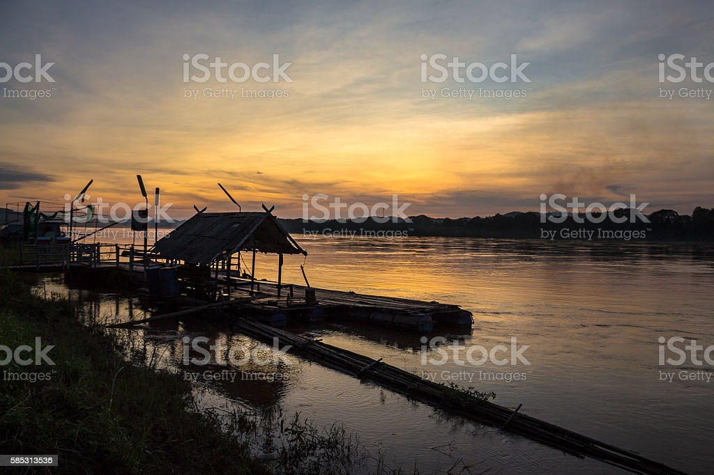 Sunset on Mekong river in Thailand stock photo