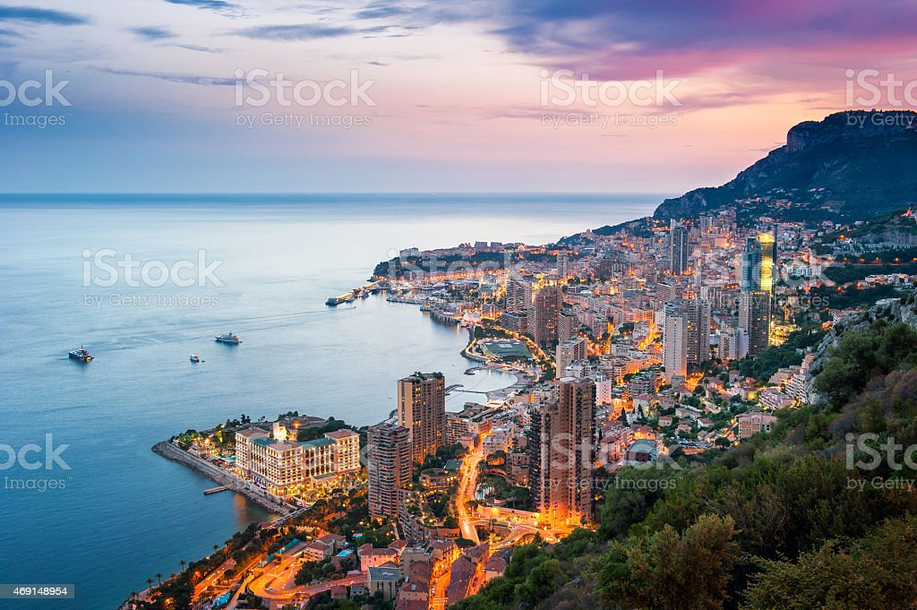 Sunset on Montecarlo, Monaco stock photo