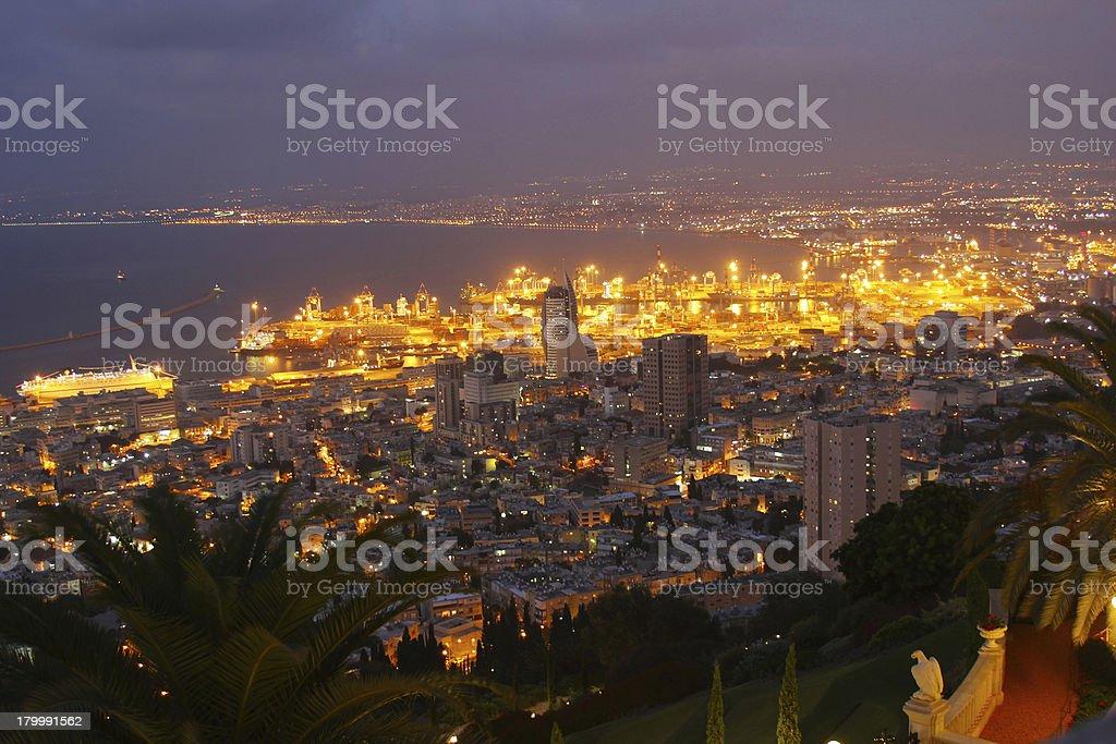 Sunset on Mount Carmel, Haifa, night view royalty-free stock photo