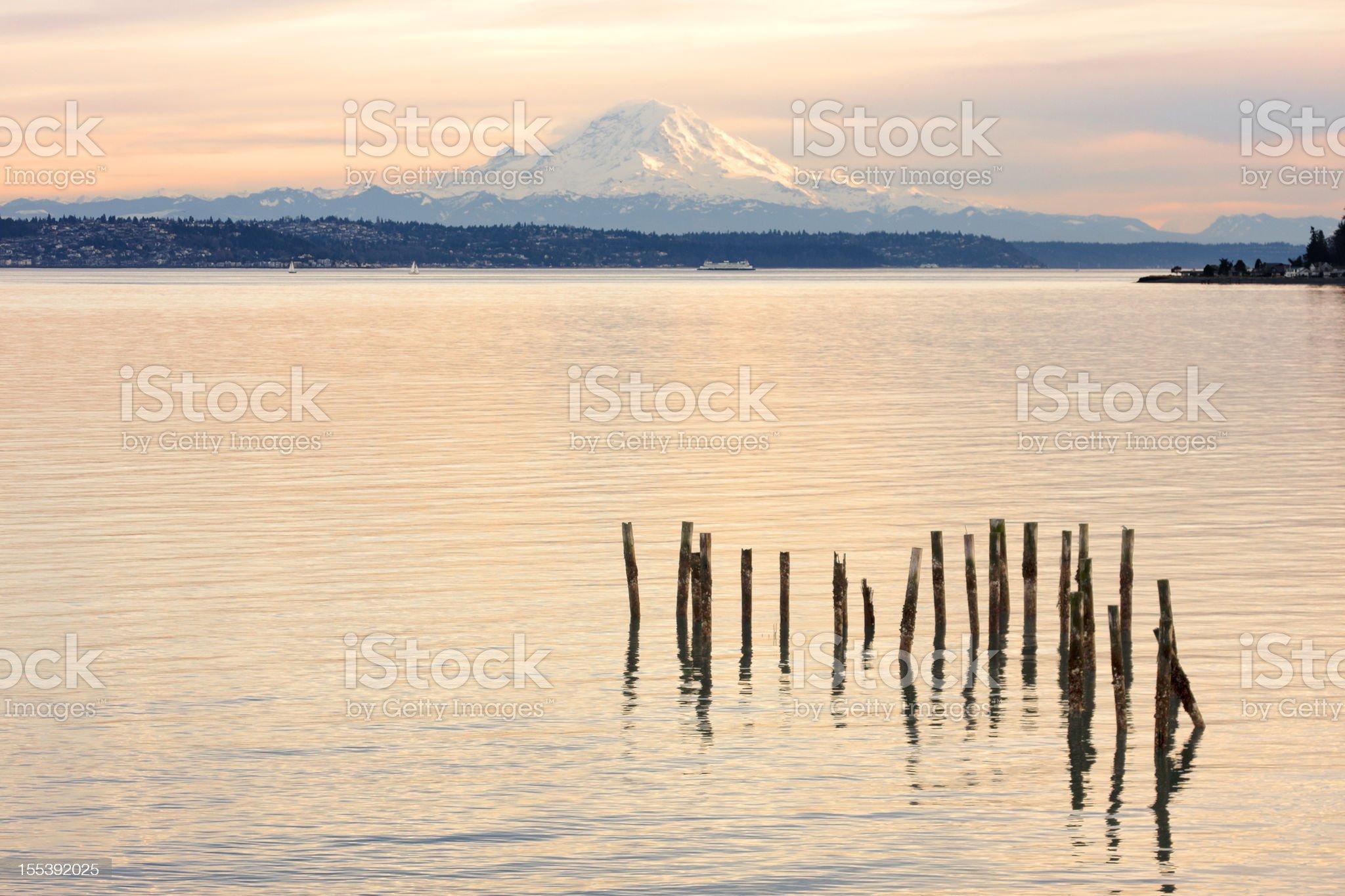 Sunset on Mount Rainier seen over Puget Sound royalty-free stock photo