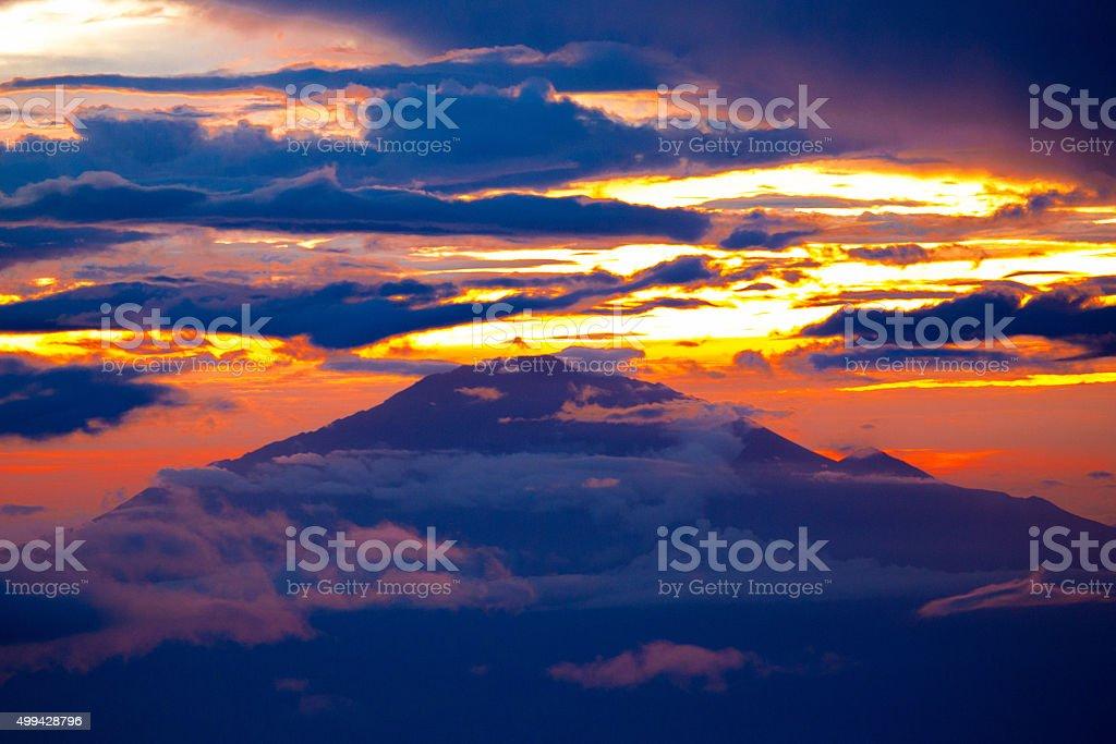 Sunset on Mt. Meru stock photo